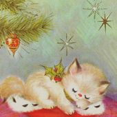 Vintage Kitty Christmas Card
